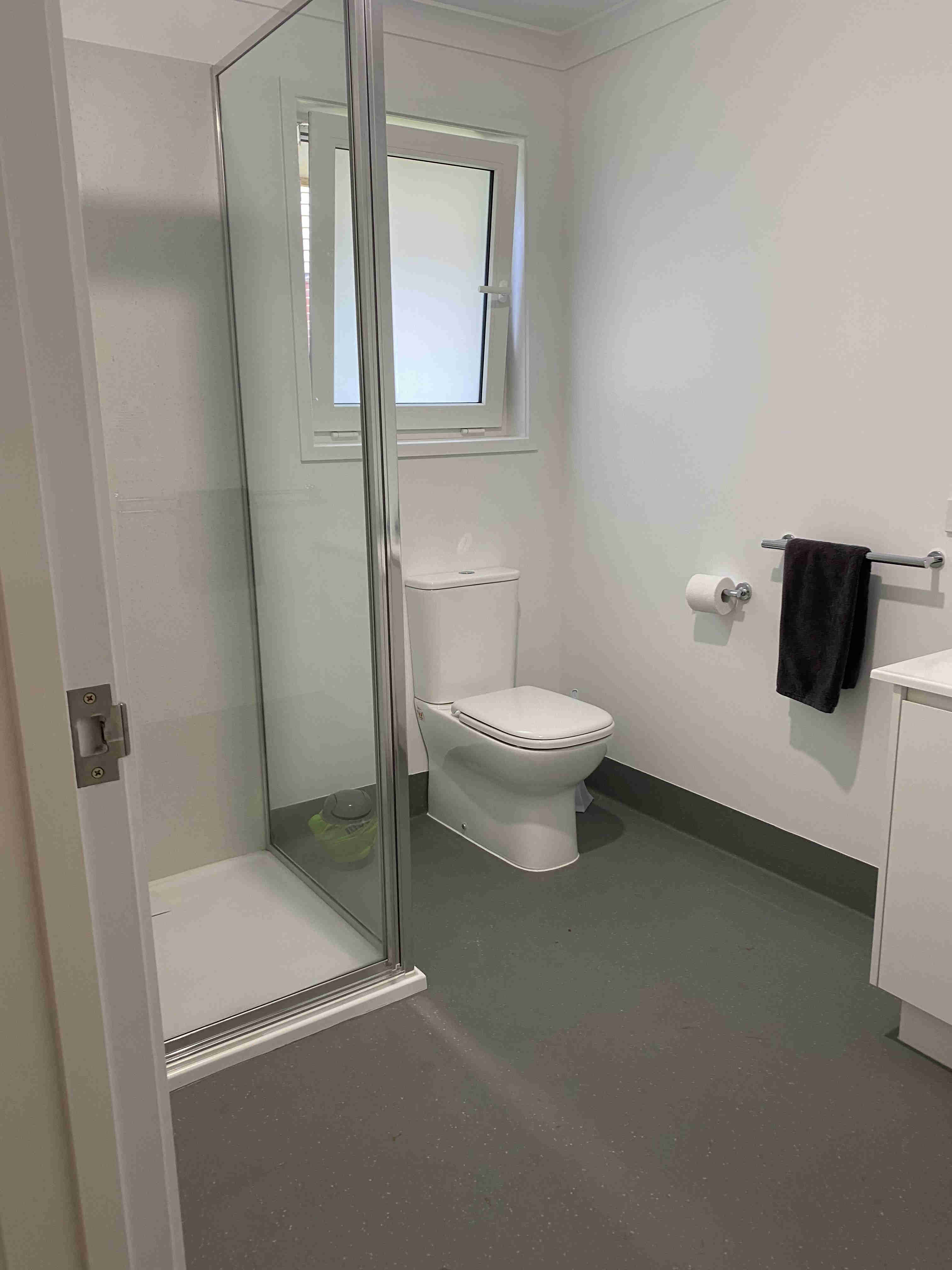 Bathroom with shower in one bedroom apartments