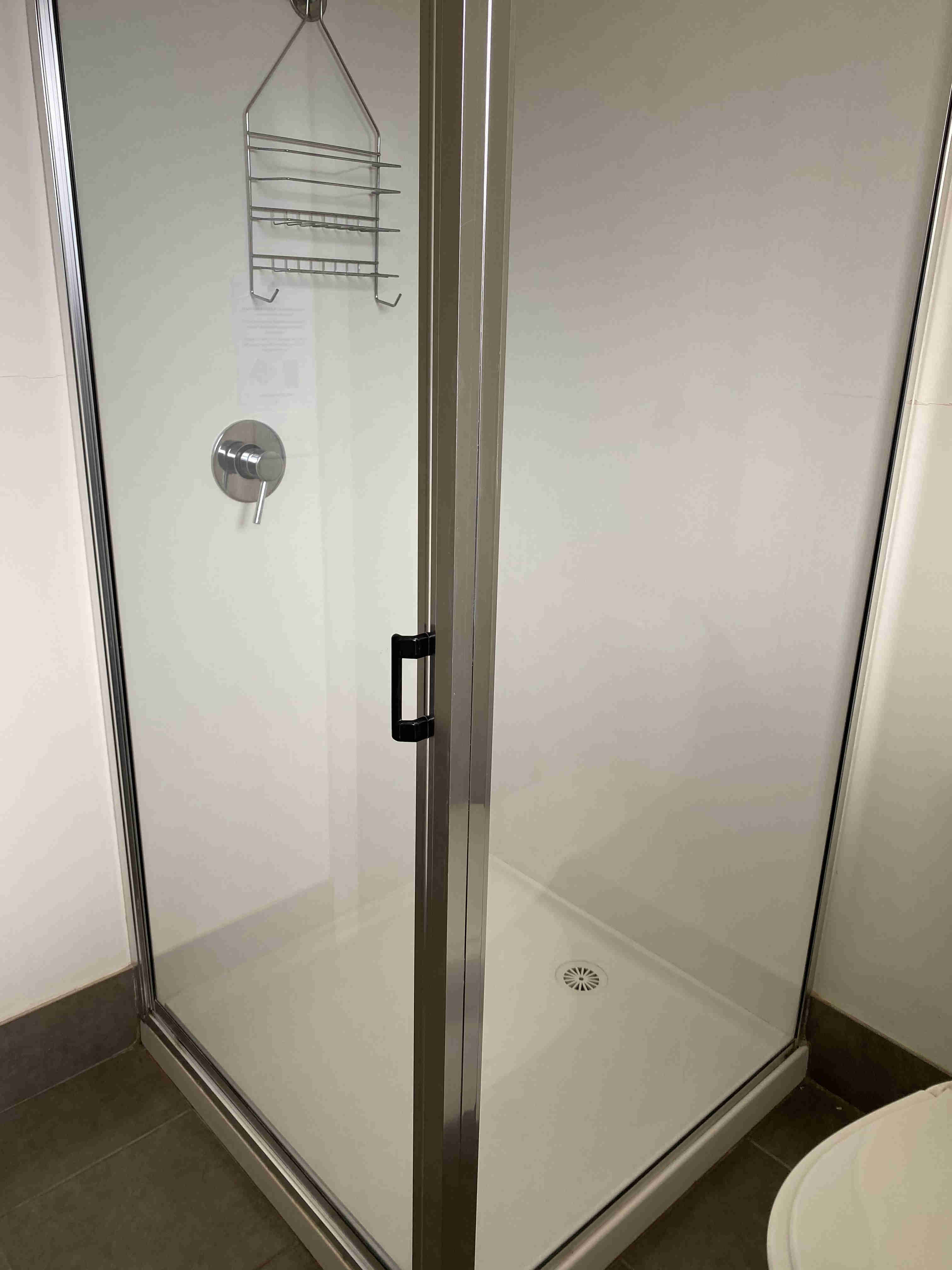 Shower in bathrooms of all units